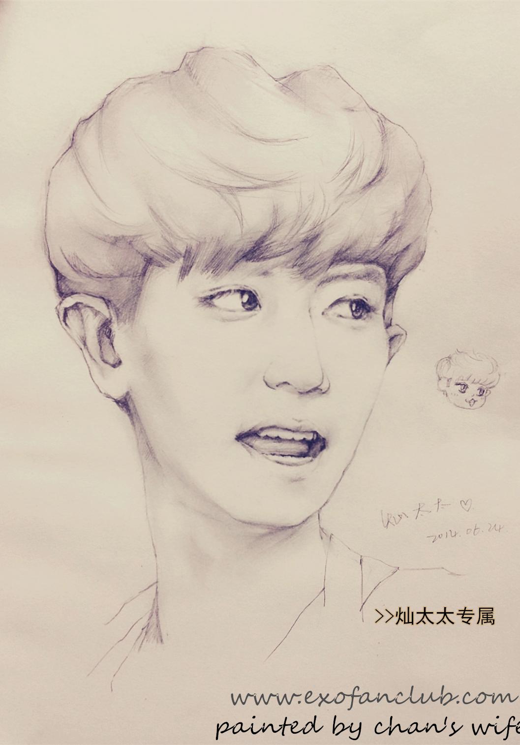 原创 EXO 灿烈 素描像 小米手绘 原创图片 Original Picture exofanclub